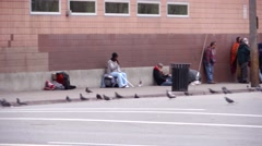 Homeless shelter SLC pan with birds - stock footage