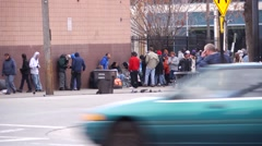 Outside homeless shelter SLC - stock footage
