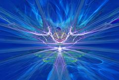 Mysterious alien form magnetic fields in the blue sky. Fractal art graphics Stock Illustration