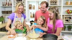 blonde Caucasian USA family parents children organic food baking home kitchen - stock footage