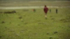 People walking in fogy Himalaya prairie, long shot, shallow DOF - stock footage