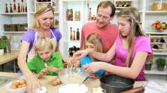 blonde Caucasian USA family parents children organic food baking home kitchen - stock footage