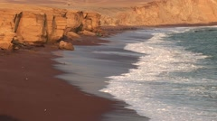 Red Beach Coast in the Paracas National Park in Peru Stock Footage