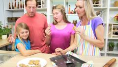 Stock Video Footage of lifestyle living baking home kitchen Caucasian family homemade cookery fun