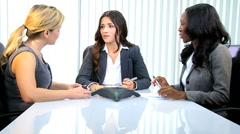 Business African American Caucasian female office trading corporate executive Stock Footage