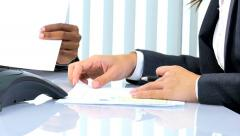 Caucasian American business team female colleagues meeting client finance broker - stock footage