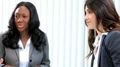 multi ethnic business team female colleagues meeting client finance broker - stock footage