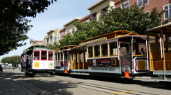 Cable Car leaving turnaround stop at taylor street in San Francisco Stock Footage