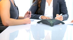Business American Caucasian female office trading economy corporate executive Stock Footage