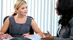 Multi ethnic business team female colleagues meeting client finance broker Stock Footage