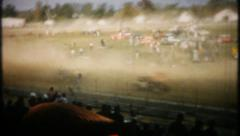 2095 - dirt track dust fills air, crash at finish line - vintage film home movie Stock Footage