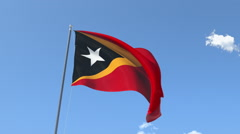 The flag of Timor Leste Waving on the Wind. Stock Footage