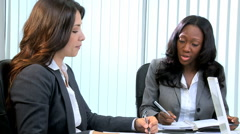 handshake multi ethnic business female meeting client finance laptop technology - stock footage