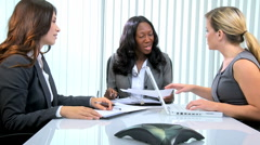 Business team African American Caucasian female office laptop economy executive Stock Footage