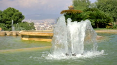 Fountain foreground - Barcelona Spain urban center background - HD P 0013 Stock Footage