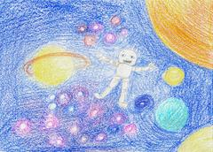 Robot Floating in Space Kiddy Hand Drawing - stock illustration
