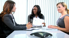 multi ethnic business female meeting client finance broker laptop technology - stock footage