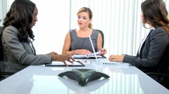 business team African American Caucasian female office laptop economy executive - stock footage