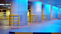 Interior of an Underground Parking Garage Stock Footage