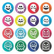 Halloween scary ghost, spirit flat design icons set Stock Illustration