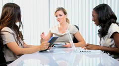 handshake multi ethnic business female meeting client laptop tablet technology - stock footage