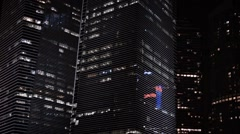 Video 1080p - Panning shot of big, contemporary, angular, highrise office bui - stock footage
