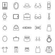 Dressing line icons on white background Stock Illustration