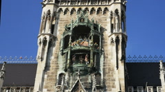 Rathaus-Glockenspiel,  Munich tourist attraction in Marienplatz - HD P 0384 Stock Footage