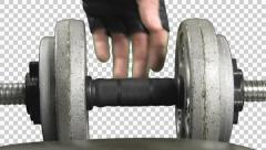 Grabbing dumbbells with alpha channel Stock Footage