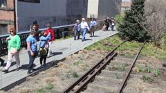 People walk on the Highline - stock footage