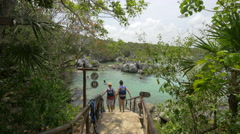 Women going to the water at the Xel-ha Park in Cancun - stock footage