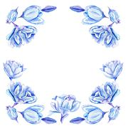 Blue Watercolor Tulip Frame - stock illustration