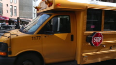 School Bus passing the road Stock Footage