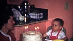 (8mm Vintage) 2 Year Old Birthday Party Cake Eating 1957 - stock footage