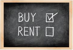 Buy not rent blackboard concept - stock photo
