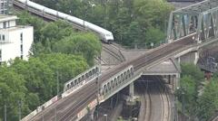 ULTRA HD 4K Aerial view modern high speed train Germany railway people travel  Stock Footage