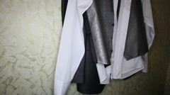 Groom black and white suit with silver vest Stock Footage