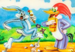 Bugs Bunny And Woody Woodpecker Cartoon Graffiti Stock Photos