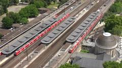 ULTRA HD 4K Timelapse train transportation people commute travel Koln station  Stock Footage