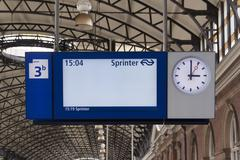 information board at train failure or delay strike - stock photo