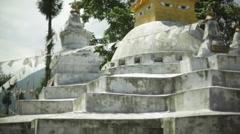 Buddhist tibetan Sikkim Stupa temple, medium shot, shallow DOF Stock Footage