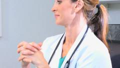 Caucasian female doctor consultant medical computer hospital x-ray tests Stock Footage