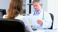 Caucasian male female medical clinic meeting financial executive clinical health - stock footage