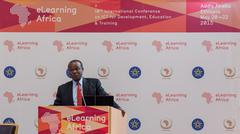 Deputy Chairperson of the African Union, delivers a keynote speech - stock photo