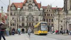 Dresden. Tram, people, old architecture. Stock Footage