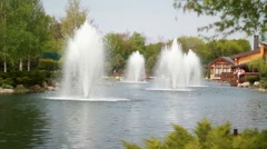 Fountain in the river in park in Ukraine Stock Footage