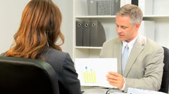 Business Caucasian male female office trading corporate executive economy Stock Footage