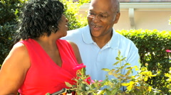 Senior retired African American male female couple gardening healthcare Stock Footage