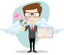 Postman with wings and flowers, vector illustration Stock Illustration