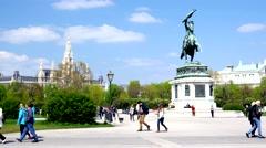 Beautiful Vienna - Archduke Carl - Erzherzog Karl Stock Footage